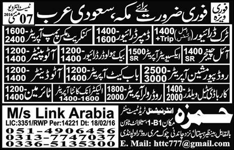 Driver and Auto Painter Jobs in Saudi Arabia 2016