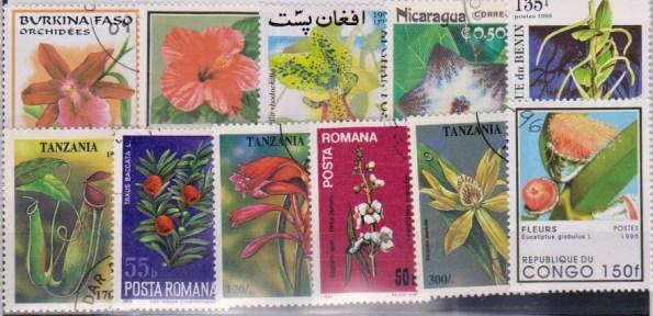 Známky - 25 rôznych, kvety a rastliny