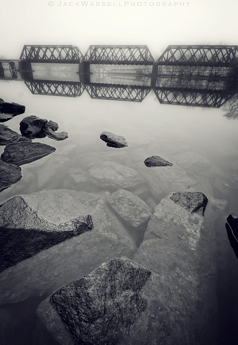 bridge mist reflection water fog train river rocks connecticut tracks wideangle shelton derby sigma1020mm housatonic