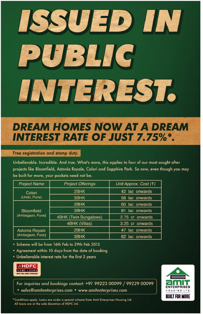 7.75 % Interest Rate on Home Loan for 3 Years + Free Registration & Stamp Duty - From 16th To 29th February 2012 for Amit Colori Undri, Amit Bloomfield & Amit Astonia Royale Ambegaon Budruk - Offer from Amit Enterprises Housing Ltd.