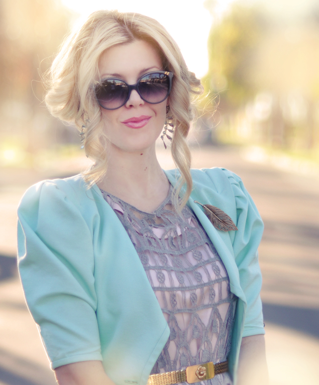 curled hair updo - pretty wedding hair-mint jacket-gold belt
