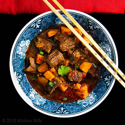 Red-Braised Beef with Sweet Potatoes in Rice Bowl, Overhead View