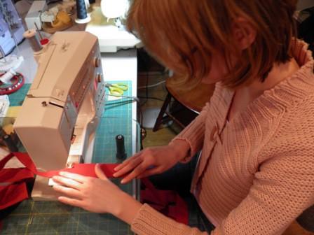 Elena stitching apron ruffling