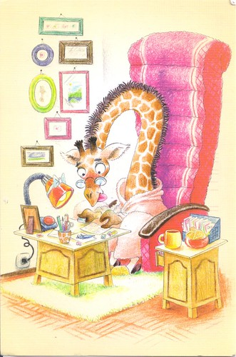 Giraffe Writing Letters-Illustrated