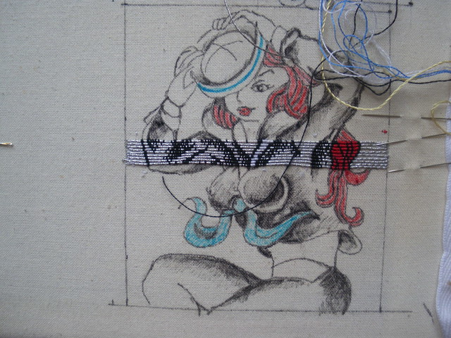Embroidered sailor girl WIP