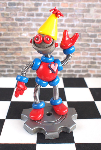 2nd Second Birthday Robot Cake Topper Mini Sculpture Blue Red by HerArtSheLoves