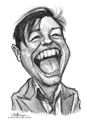 digital caricature sketch of Ricky Gervais