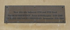 Photo of Richard Brinsley Sheridan and Thomas Sheridan brass plaque