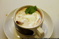 Hot Chocolate with mint, mint leaves, cinnamon stick…