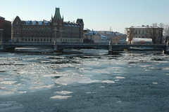 Ice floating in central Stockholm