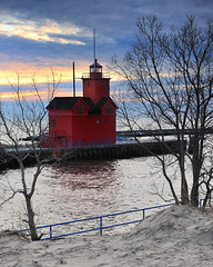Holland Harbor Lighthouse - Known as (Big Red) Holland, Michigan by Michigan Nut