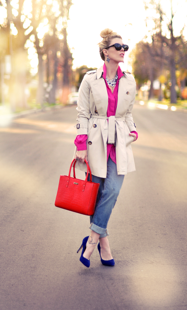 mixing brights - wearing red and pink and  blue