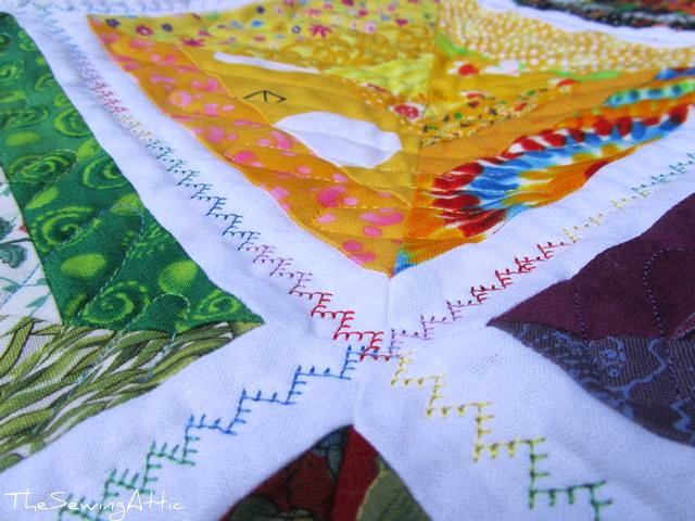 String quilt, quilting detail