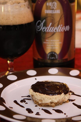 Ommegang Seduction Cheese Cake with Chocolate Sauce
