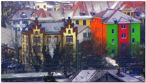 colorful contrast -  old  (1873) and new buildings (2010). On Explore, #265 - 2012-02-15