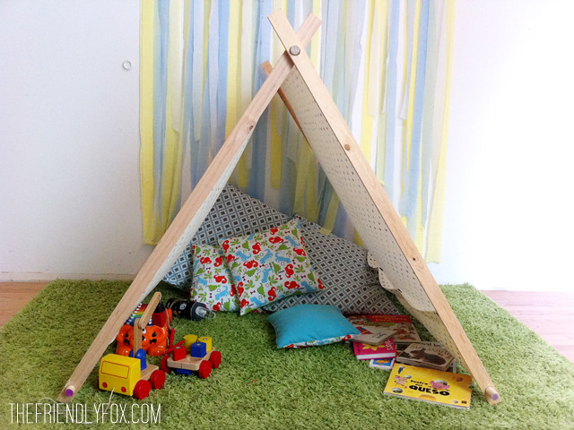 diy homemade playtent, the friendly fox