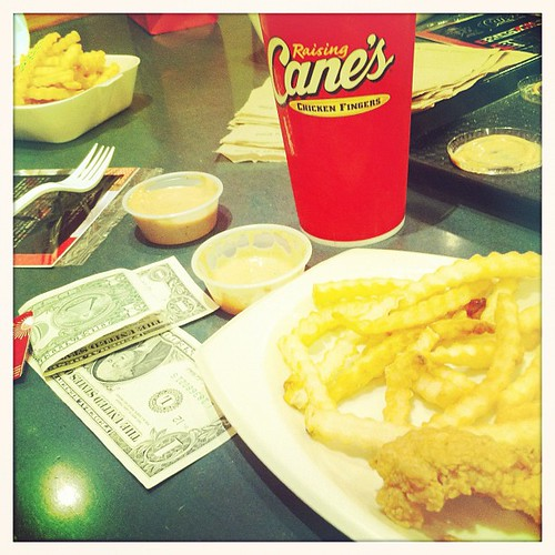 The finest chicken fingers my money has ever bought. I could eat at raising canes every day!