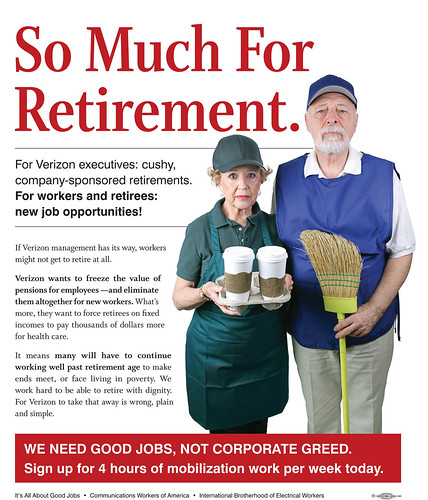 """So Much For Retirement"" Message that takes on Verizon for attacking workers' retirement security."