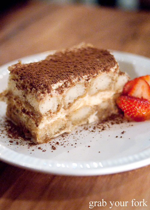 tiramisu dessert at buffalo dining club darlinghurst