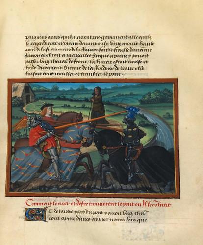 003-Corazon se enfrenta al caballero Cuidado en el puente del Paso Peligroso-fol. 19-Le livre du Coeur d'amour épris, par le roi René d'Anjou-1460-BNF