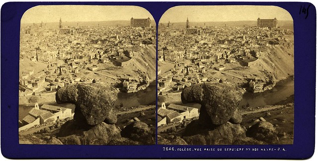 Vista desde la Piedra del rey Moro. Fotografía estereoscópica de Jean Andrieu en 1868 con número de serie 2646