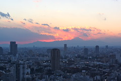 Mt. Fuji sunset from Tokyo Tower