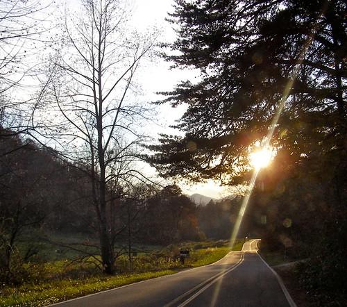 road trees sunset sun mountains sunshine nc country 2006 carolina appalachian curve barnardsville donotpass bigivy povertybranch mystuart