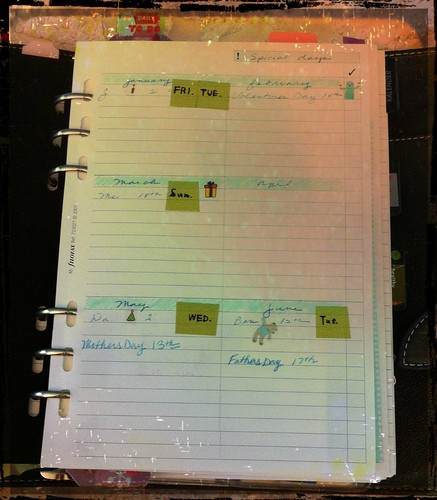 filofax special day sheet