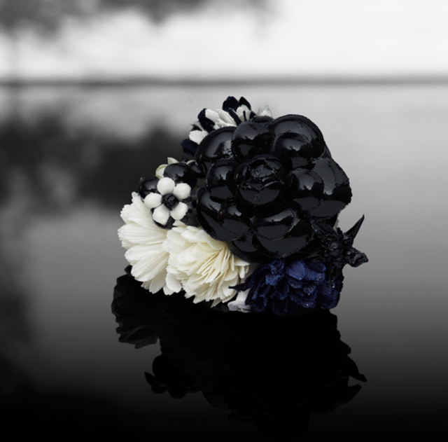 chanel flower brooch camillia navy white black