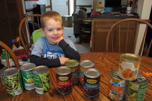 """he [loves] these cans!"""
