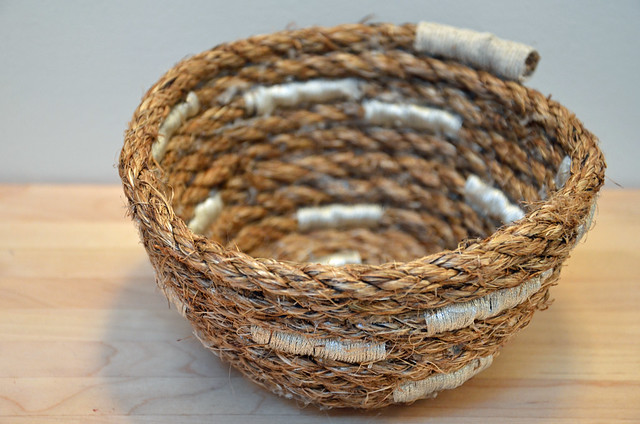 DIY rope bowl embellished with embroidery thread