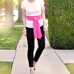 black jeans - white tee- pink sash- vintage rhinestone jewelry