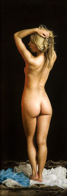 "'Standing Nude' oil on board 19½"" x 7"""