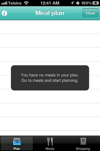 Menu Planner App - starting screen