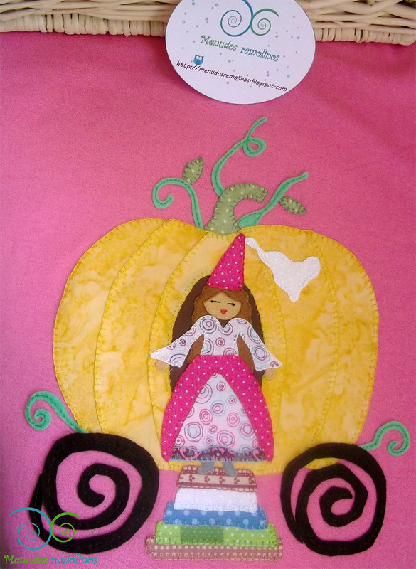 Camiseta Calabaza y princesa. Aplicaciones tela y fieltro