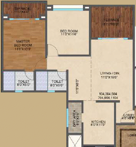 2 BHK Flat - Odd Floors - 767 Carpet + 132 Terrace - Kolte-Patil Downtown - Langston, 2 BHK Flats, for All Inclusive Property Price of Rs. 62 Lakhs Onward, at Kharadi, Pune 411014
