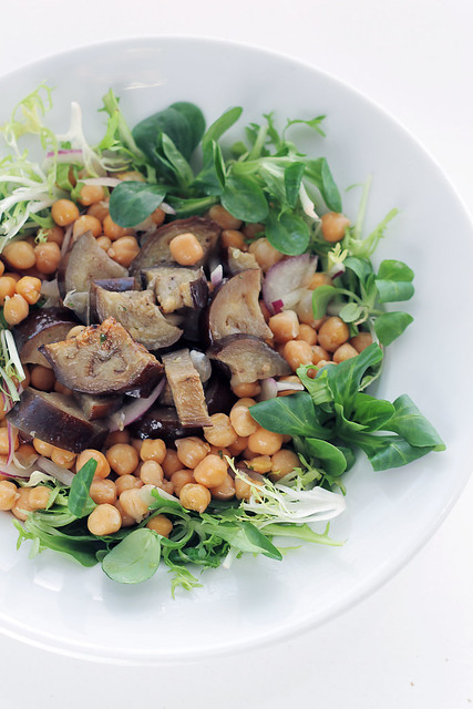Aubergines, Chickpeas and Mixed Leaves