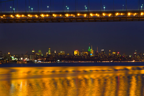 city nyc newyorkcity longexposure nightphotography newyork night reflections river gold lights golden downtown cityscape skyscrapers manhattan empirestatebuilding hudson bridgelights 85mmlens canonefs1585mmf3556isusm