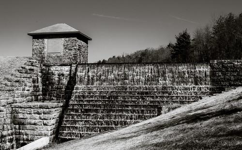 bw usa water stone landscape nikon pennsylvania reservoir falling manmade nepa