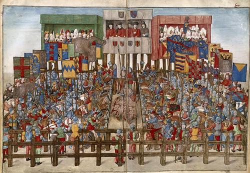 019-Le libre des tournois…1460- René d' Anjou--Français 2692, fol. 62v-63-Formacion de los participantes del Torneo