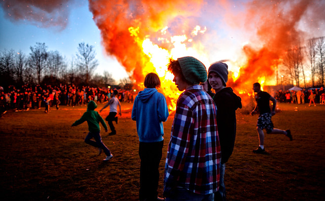 Young Boys at the Bonfire at Walpurgis Night