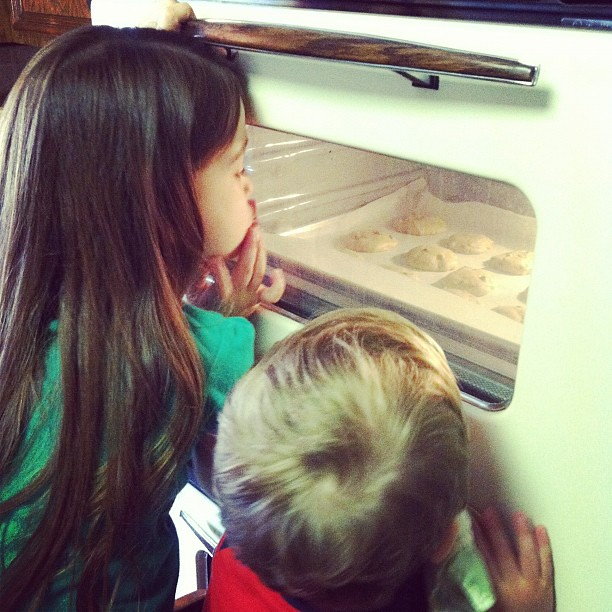 "Emma said, ""They're growing!!"" #cookies #baking"