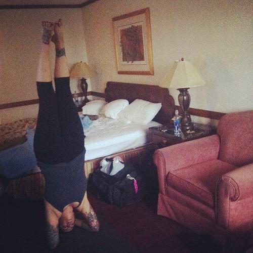 Hotel room yoga. Sirsha-asana.