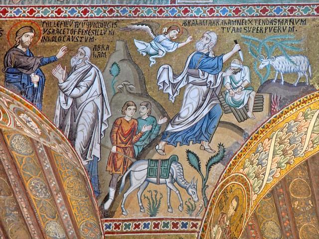 Le sacrifice d'Isaac par Abraham (mosaïques de la Chapelle palatine, Palerme) from Flickr via Wylio