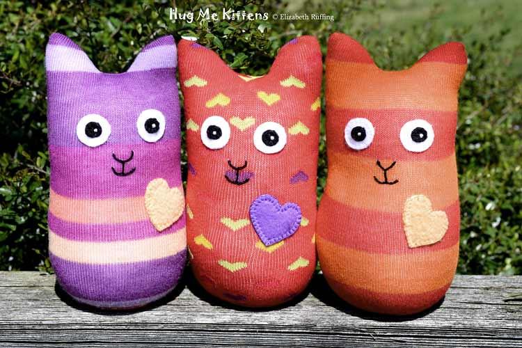 Hug Me Sock Kittens, handmade art toys by Elizabeth Ruffing