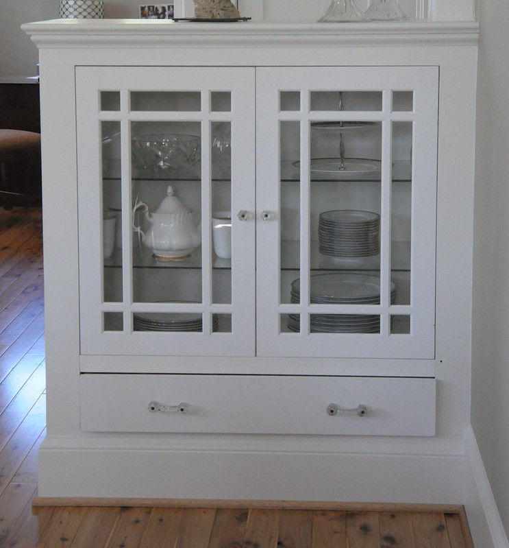 Glass Dining Room Built in Cabinets