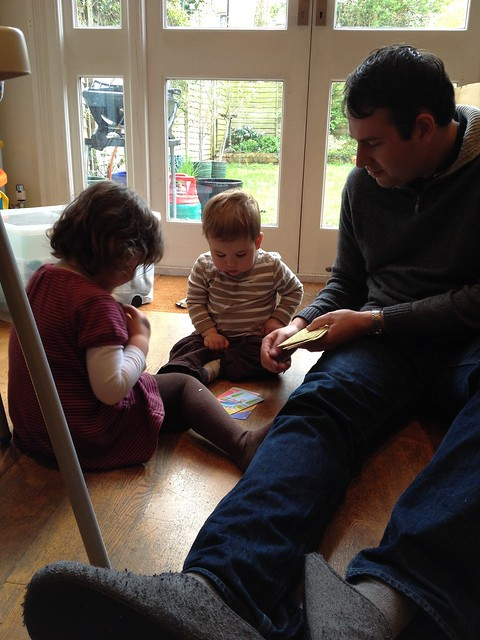 Playing snap with Phoebe and daddy