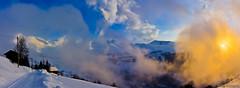 French alps from Albiez - Les aiguilles d'arves dans les nuages...