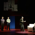 The four adults in Jason's newly blended family-(l.-r.) his mother Trina (Linda Mugleston), his father Marvin (Geoffrey Nauffts), his father's lover Whizzer (Romaine Frugé) and his psychiatrist/stepfather Mendel (Steve Routman) try to convince Jason that everything will be alright in the Huntington Theatre Company's production of