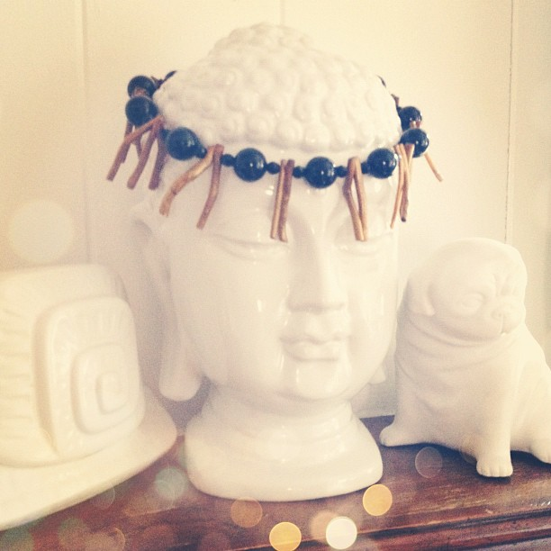 This fun necklace find @ The Salvation Army today also works well as a Buddha headdress, no?